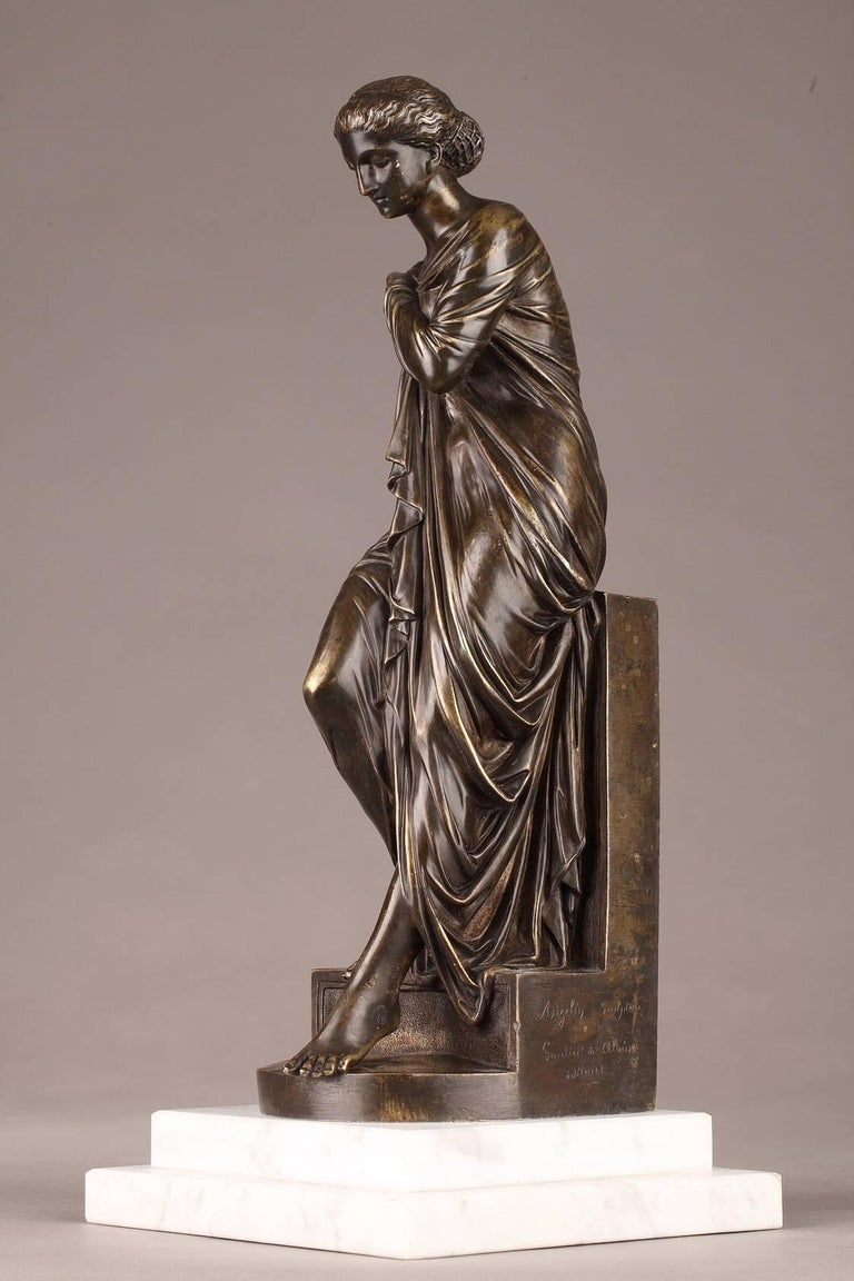 Neoclassical Late 19th Century Bronze Statue, Suzanne by Eugene-Antoine Aizelin For Sale