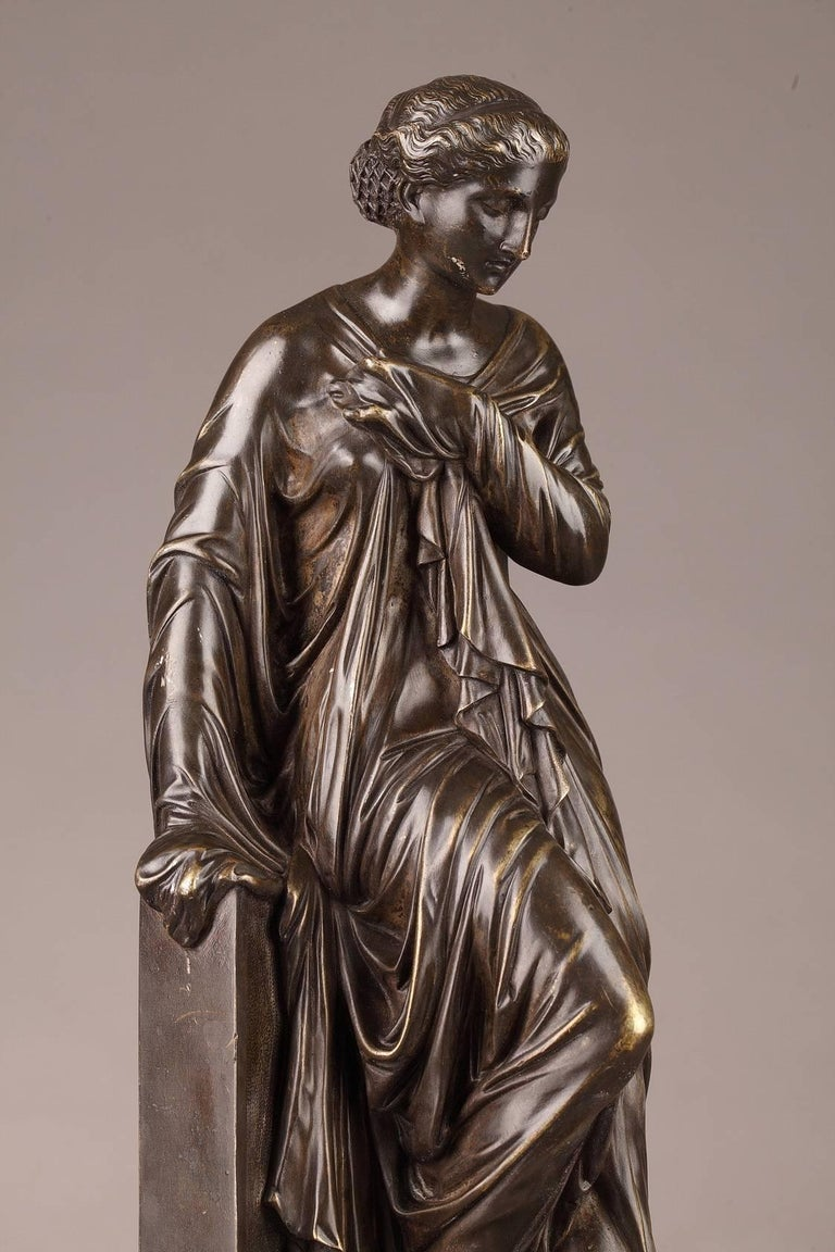 French Late 19th Century Bronze Statue, Suzanne by Eugene-Antoine Aizelin For Sale