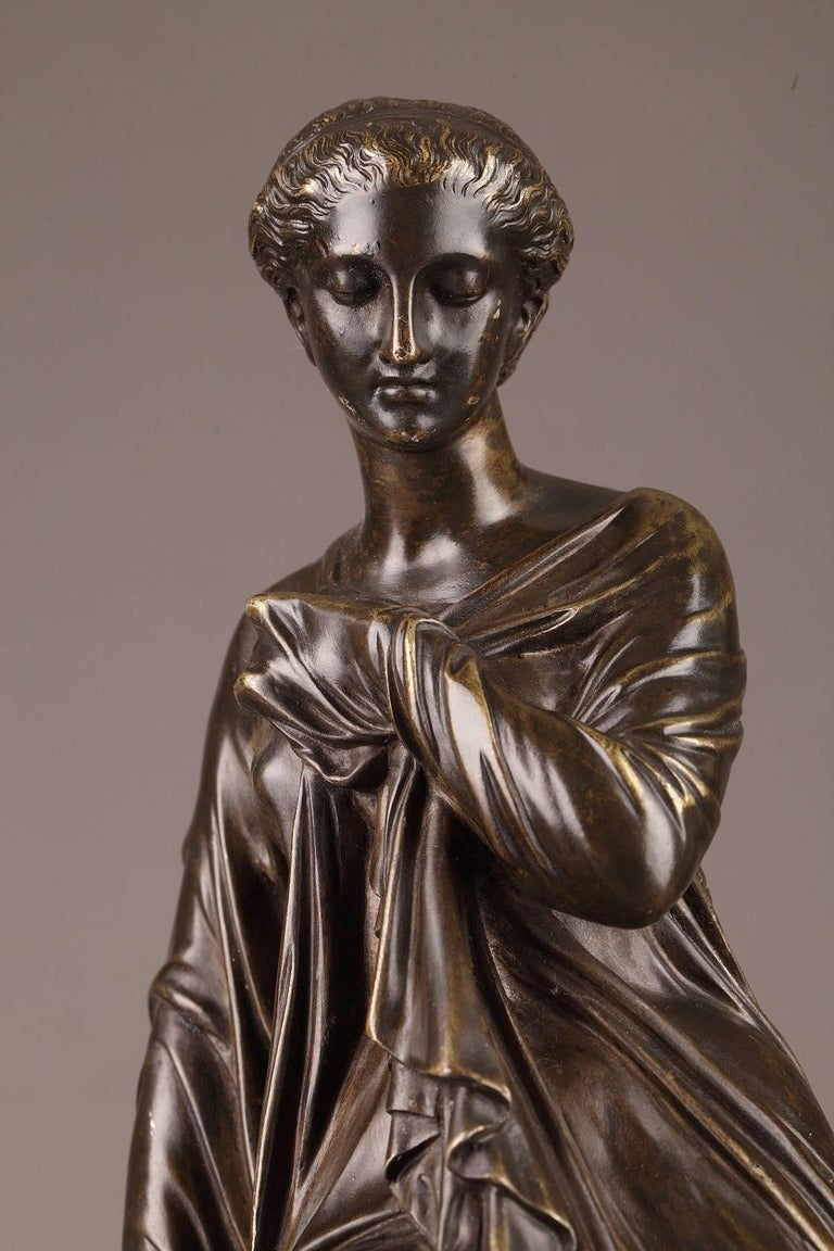 Patinated Late 19th Century Bronze Statue, Suzanne by Eugene-Antoine Aizelin For Sale