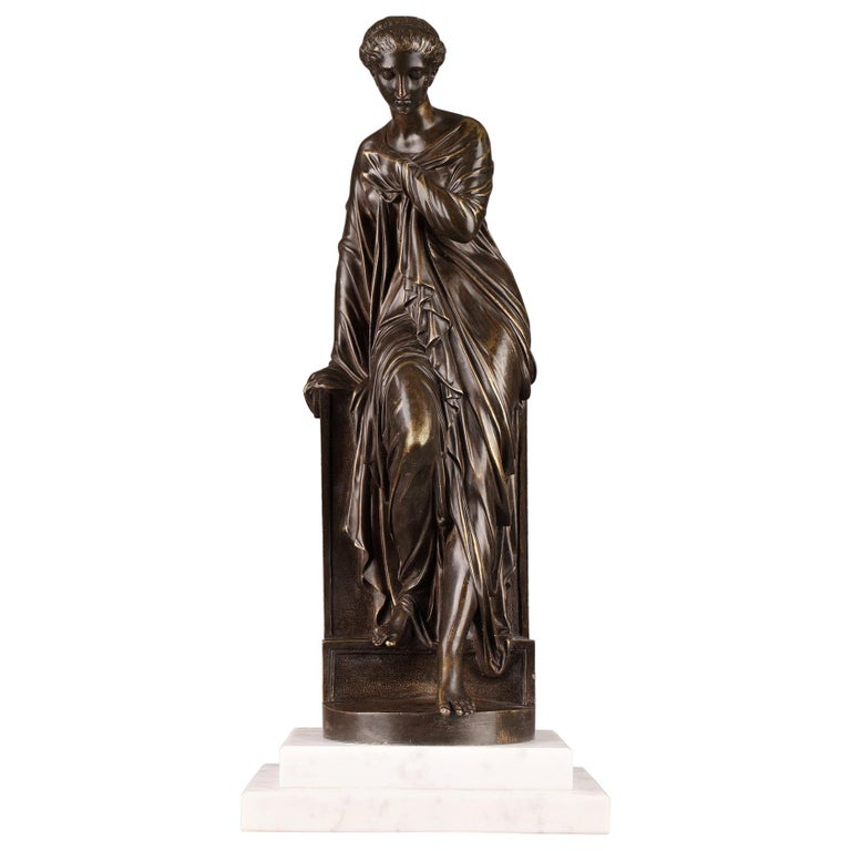 Late 19th Century Bronze Statue, Suzanne by Eugene-Antoine Aizelin For Sale