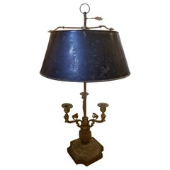 Late 19th Century Bronze Three-Arm Bouillotte Lamp with Black Tole Shade