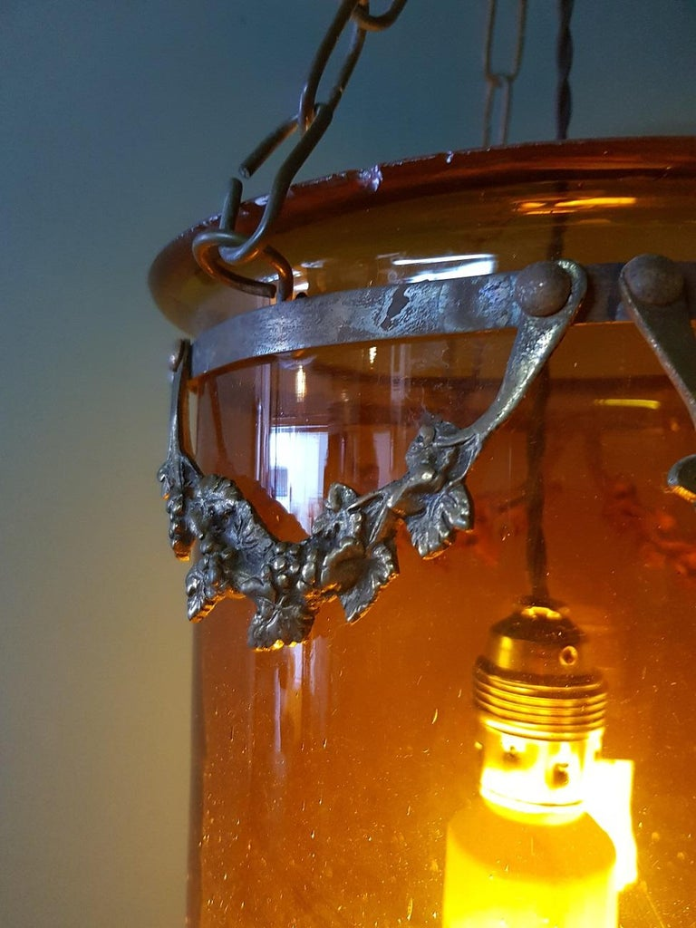Glass Late 19th Century Brown Bell Jar with Bronze Frame For Sale