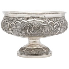Late 19th Century Burmese/Myanmar Silver Pedestal-Based Bowl