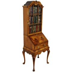 Late 19th Century Burr Walnut Queen Anne Style Bureau Bookcase