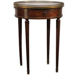 Late 19th Century circa 1890 French Walnut Marble Top Bouillote Table