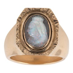 Late 19th Century Cameo Opal Intaglio of Queen Victoria Gold Ring