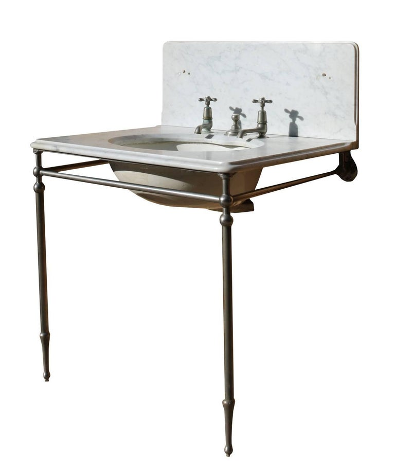 The taps and nickel-plated stand are included. The basin is sold as seen. We would recommend full refurbishment prior to installation. We can recommend a specialist third party contractor to restore to your specification. The basin has a hairline