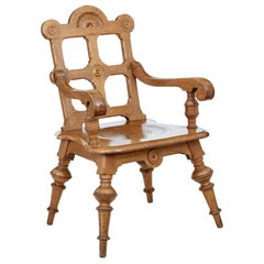Late 19th Century Carved Oak Arts & Crafts Armchair