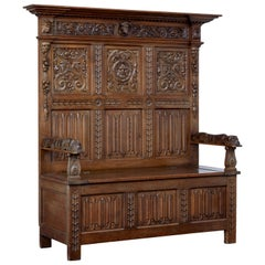 Late 19th Century Carved Oak Box Settle