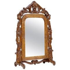 Late 19th Century Carved Oak Rococo Revival Vanity Mirror