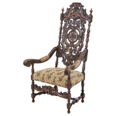 Late 19th Century Carved Walnut Carolean Design Armchair
