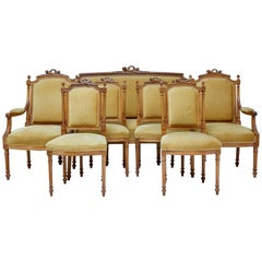 Late 19th Century Carved Walnut Seven-Piece Salon Suite