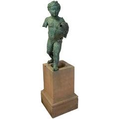 Late 19th Century Cast Bronze Cherub on Plinth