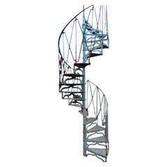Late 19th Century Cast Iron Spiral Staircase, Art Nouveau Style
