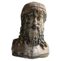 Late 19th Century Cast Stone Bust of Zeus/Poseidon