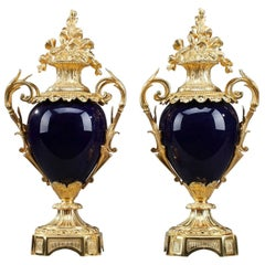 Late 19th Century Centerpiece Vases with Ormolu Mounts