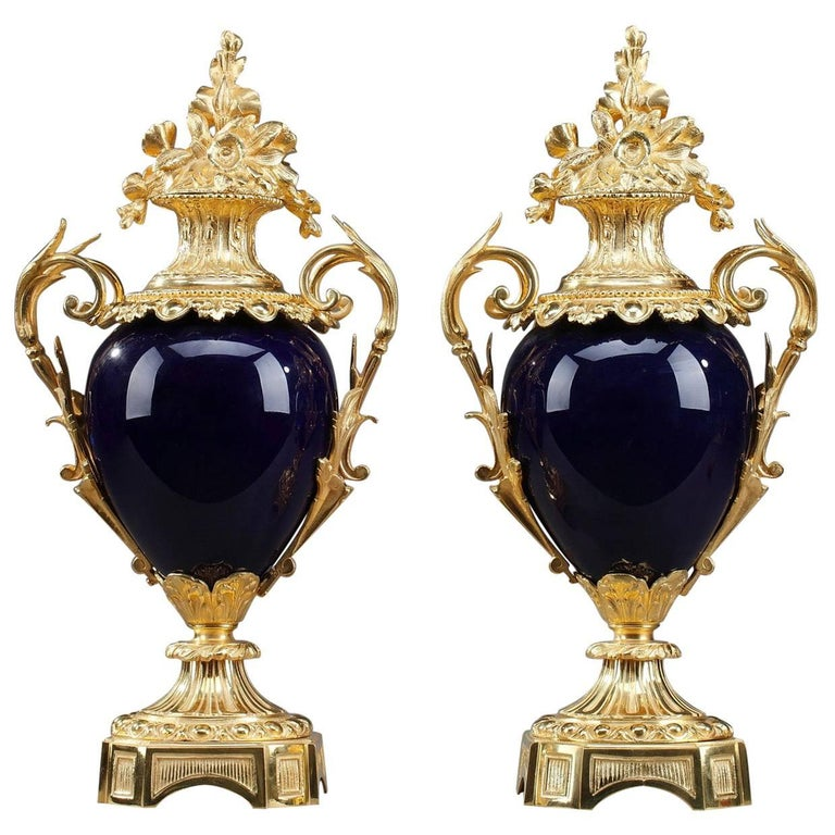 Late 19th Century Centerpiece Vases with Ormolu Mounts For Sale