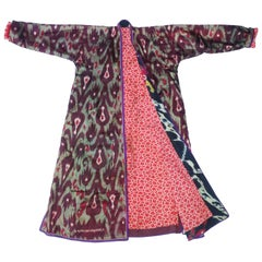 Late 19th Century Central Asian Silk Ikat Chapan Robe Coat