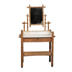 Late 19th Century Charming Continental Bamboo Washstand with Mirror