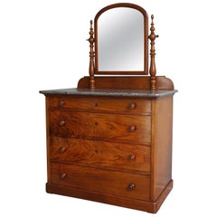 Late 19th Century Chest of Drawers Vanity with Marble Top and Hinging Mirror