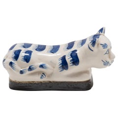 Late 19th Century Chinese Blue and White Cat Headrest