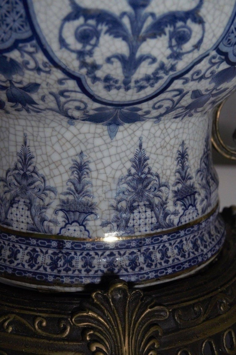 19th Century Transfer Decorated Chinoiserie Blue and White Porcelain Bronze Globular Jar  For Sale