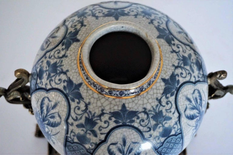 Transfer Decorated Chinoiserie Blue and White Porcelain Bronze Globular Jar  For Sale 1