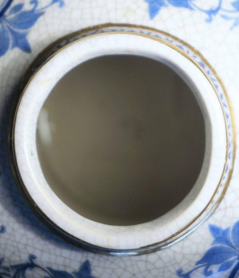 Transfer Decorated Chinoiserie Blue and White Porcelain Bronze Globular Jar  For Sale 3