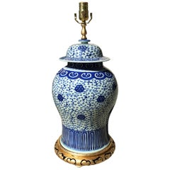 Late 19th Century Chinese Blue & White Porcelain Lidded Ginger Jar as Lamp