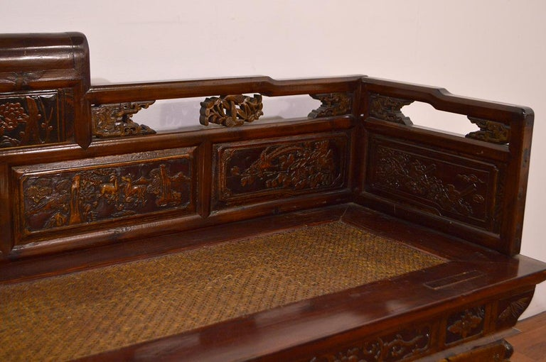 Late 19th Century Chinese Dragon Antique Bench Hand Carved Elmwood and Rattan For Sale 5