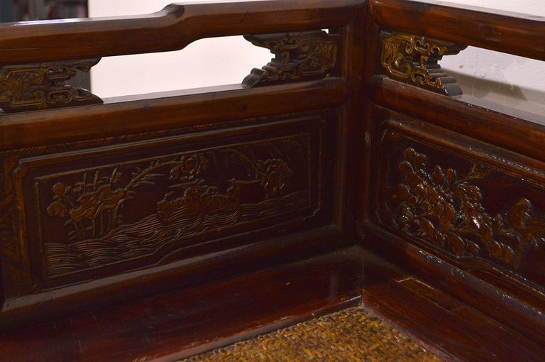 Late 19th Century Chinese Dragon Antique Bench Hand Carved Elmwood and Rattan For Sale 7