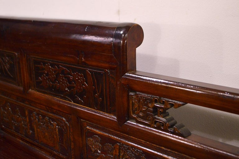 Late 19th Century Chinese Dragon Antique Bench Hand Carved Elmwood and Rattan For Sale 8