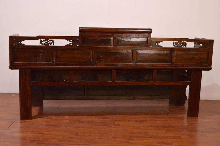 Late 19th Century Chinese Dragon Antique Bench Hand Carved Elmwood and Rattan For Sale 9