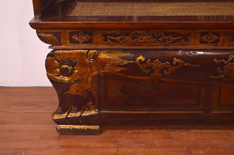 Hand-Carved Late 19th Century Chinese Dragon Antique Bench Hand Carved Elmwood and Rattan For Sale