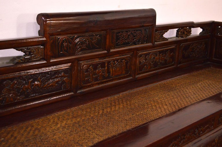 Late 19th Century Chinese Dragon Antique Bench Hand Carved Elmwood and Rattan In Good Condition For Sale In CILAVEGNA, IT