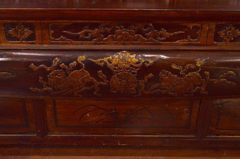 Late 19th Century Chinese Dragon Antique Bench Hand Carved Elmwood and Rattan For Sale 1