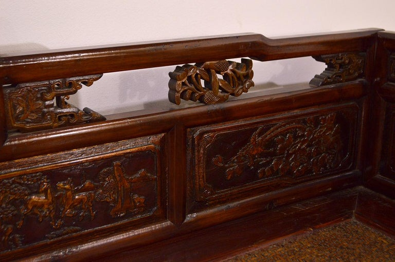 Late 19th Century Chinese Dragon Antique Bench Hand Carved Elmwood and Rattan For Sale 4