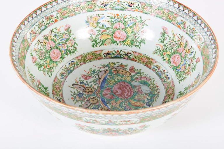 Large late 19th century Chinese export rose medallion punch bowl.