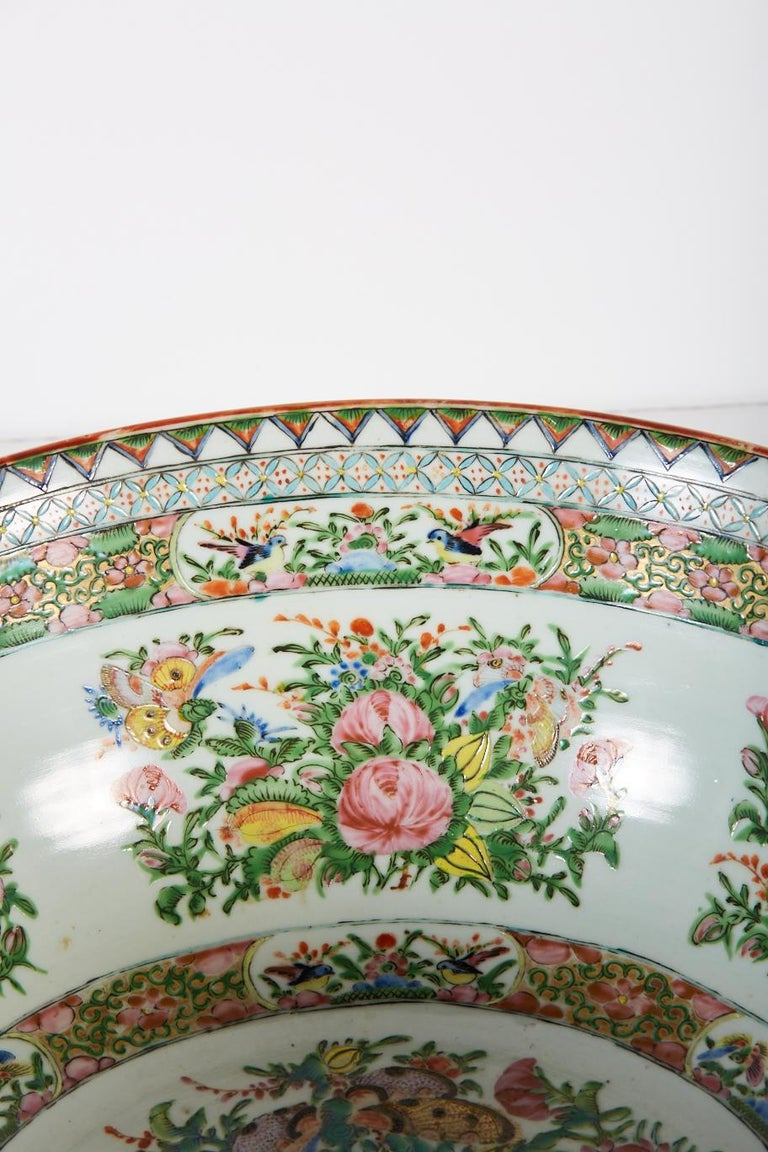 Polychromed Late 19th Century Chinese Export Rose Medallion Punch Bowl For Sale