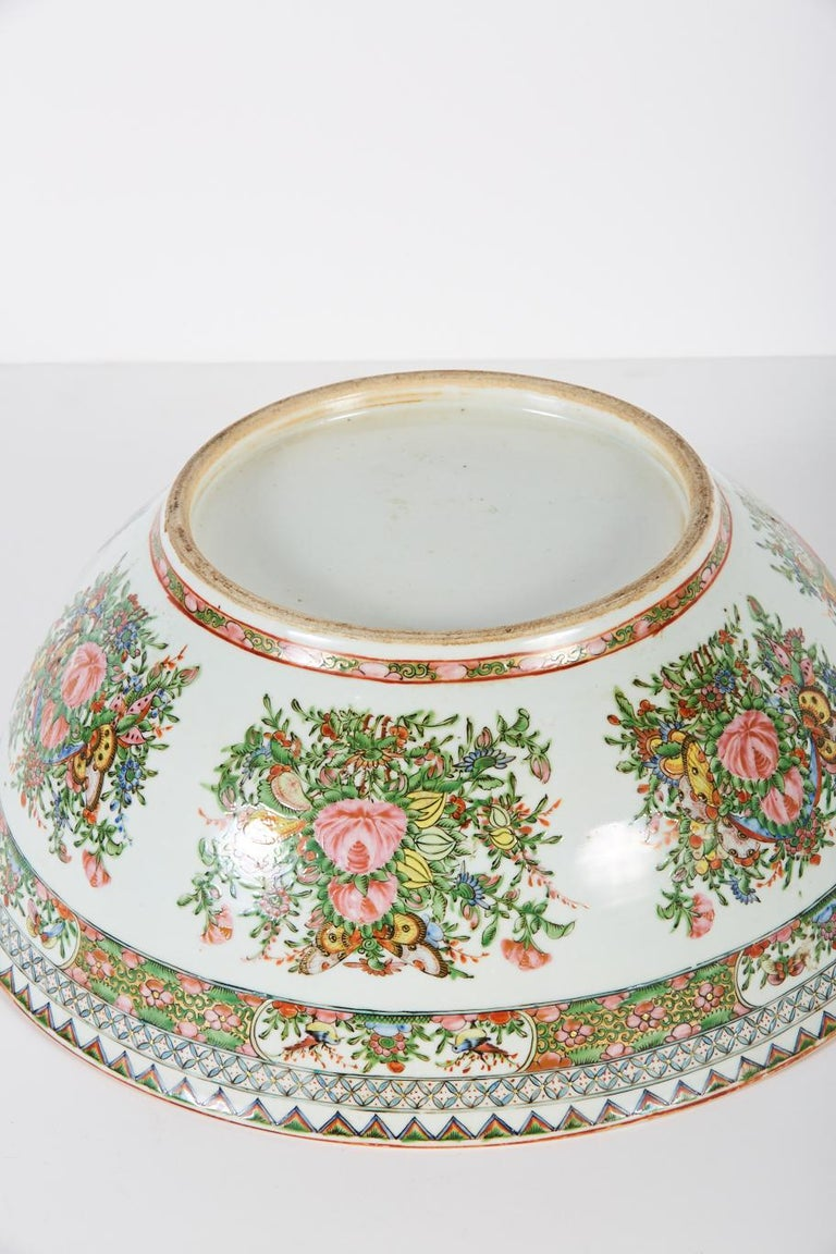 Porcelain Late 19th Century Chinese Export Rose Medallion Punch Bowl For Sale