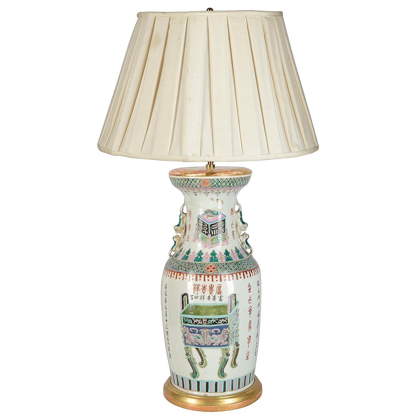 Late 19th Century Chinese Famille Verte Vase / Lamp