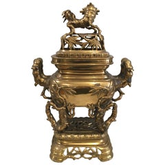 Late 19th Century Chinese Gilt Bronze Brazier