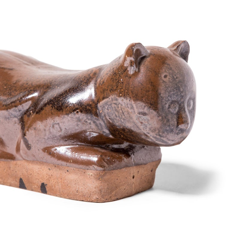 Late 19th Century Chinese Mottled Brown Cat Headrest For