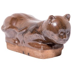 Late 19th Century Chinese Mottled Brown Cat Headrest