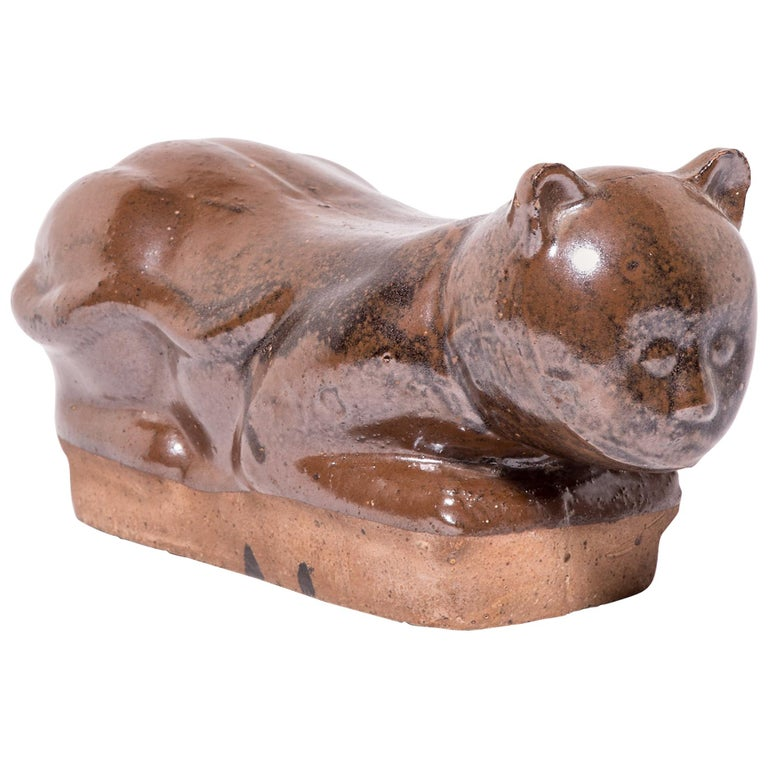Late 19th Century Chinese Mottled Brown Cat Headrest For Sale