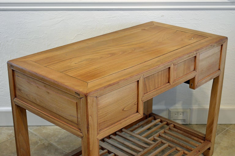 Bronze Late 19th Century Chinese Natural Color Elm Wood Desk
