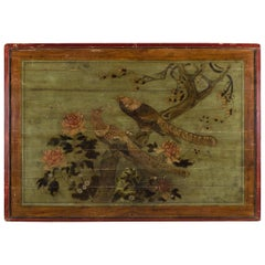Late 19th Century Chinese Phoenix Painted Bed Canopy