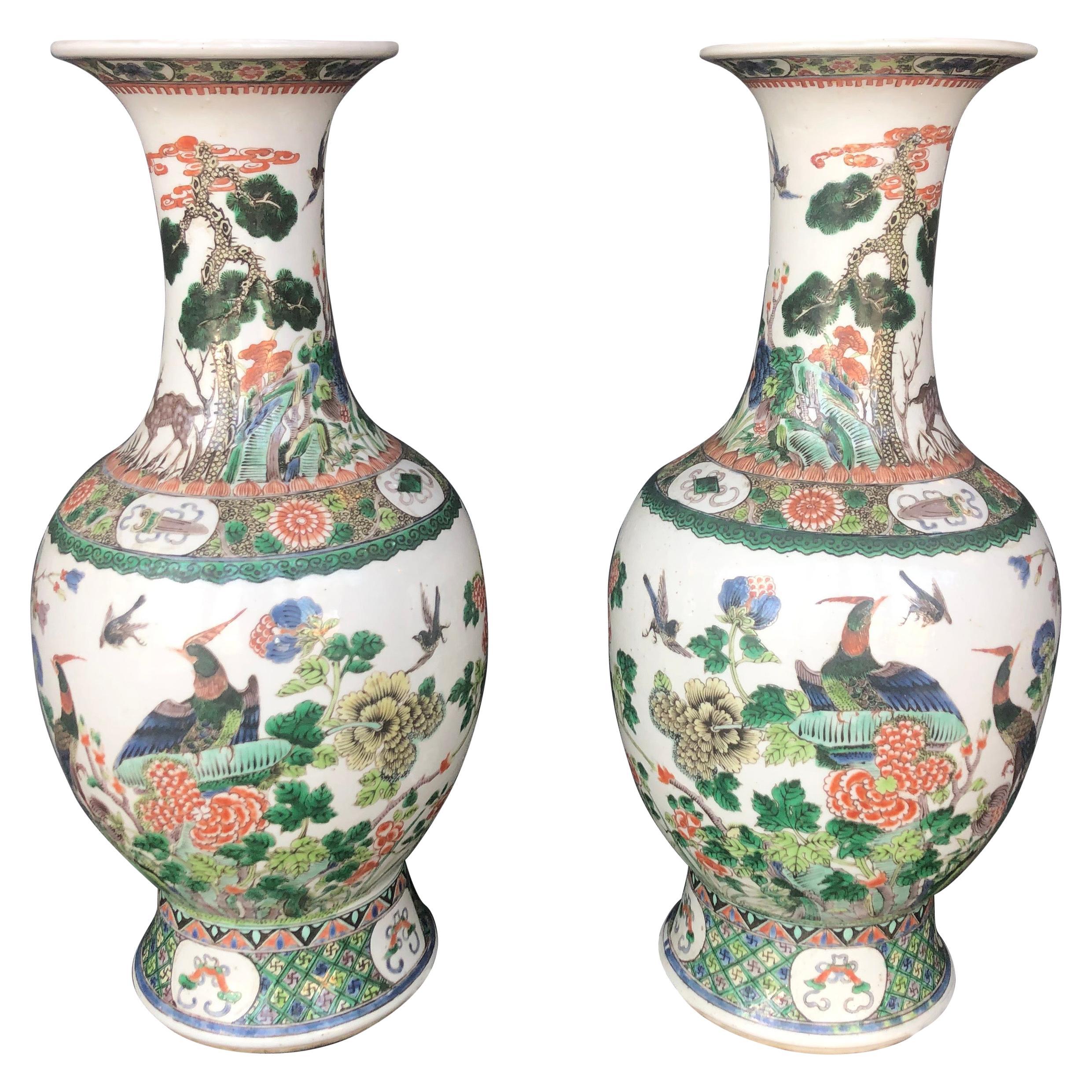 Late 19th Century Chinese Vases Famille Verte