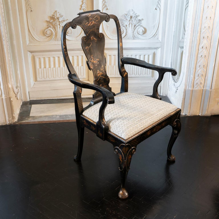 Late 19th Century Chinoiserie Armchair, Carved Black Wood, Black/White Fabric 5