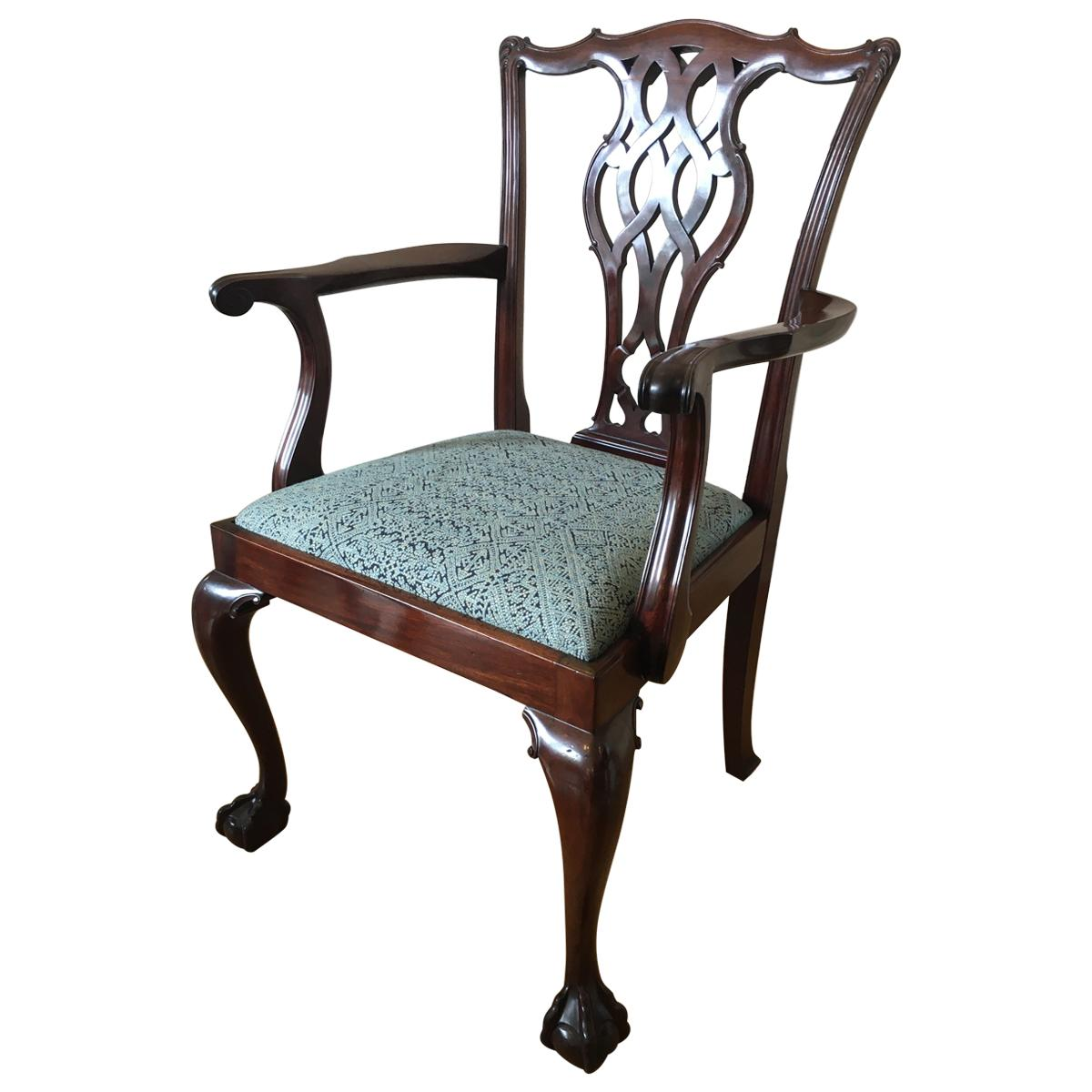 Late 19th Century Chippendale Style Mahogany Armchair